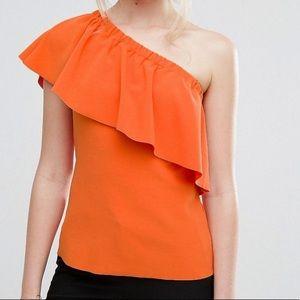 ASOS Orange One Shoulder Ruffle Blouse